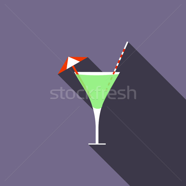 Cocktail icon, flat style Stock photo © ylivdesign