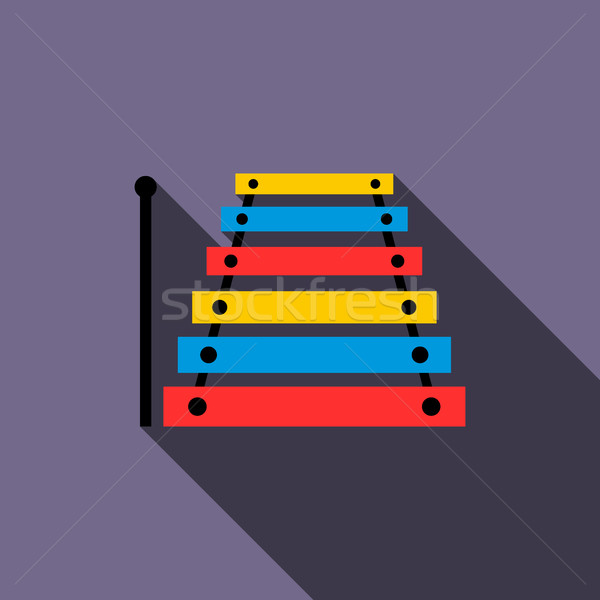 Xilofone ícone estilo violeta música bebê Foto stock © ylivdesign