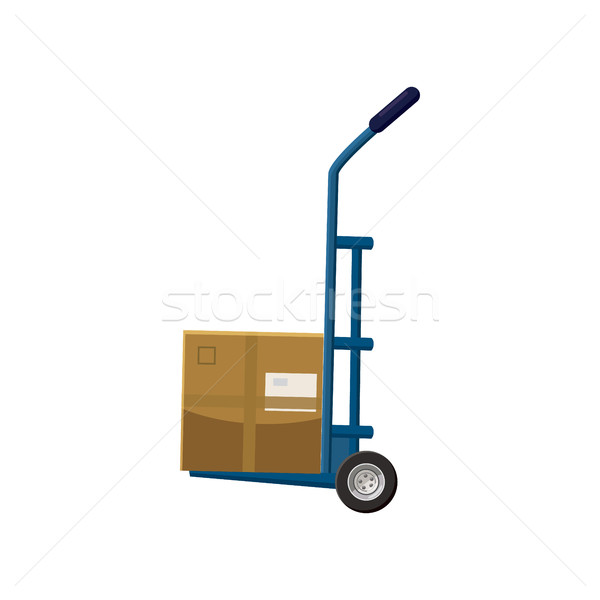 Hand truck with box icon, cartoon style Stock photo © ylivdesign