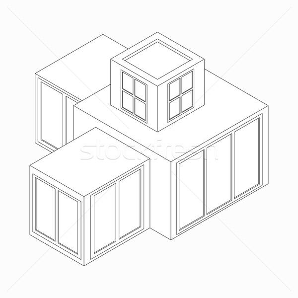 Modern house icon, isometric 3d style  Stock photo © ylivdesign