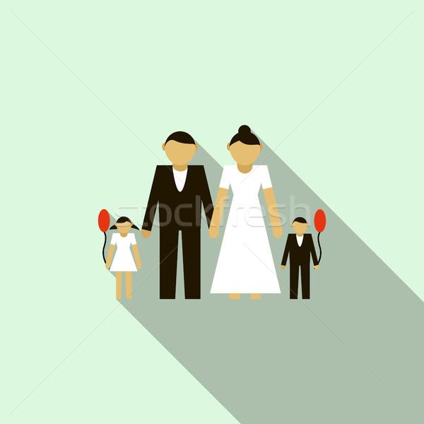 418365e4a0b20 結婚式 · カップル · 子供 · アイコン · スタイル · 水色 - ストック ...