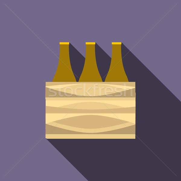 Brown beer bottles icon, flat style Stock photo © ylivdesign