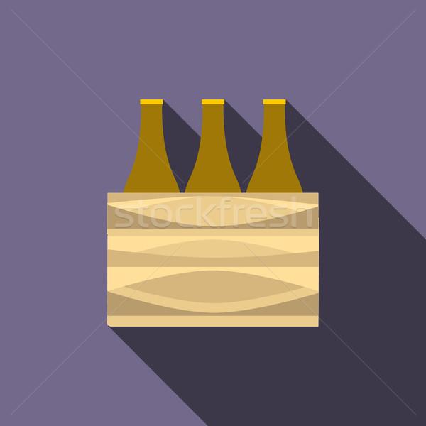 Kahverengi bira şişeler ikon stil uzun Stok fotoğraf © ylivdesign
