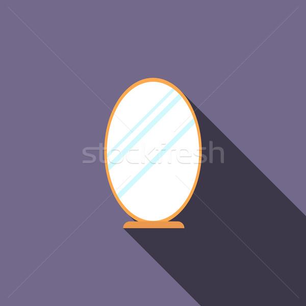 Ovaal spiegel icon stijl lang schaduw Stockfoto © ylivdesign