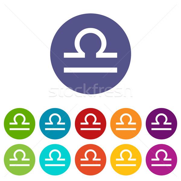 Libra flat icon Stock photo © ylivdesign