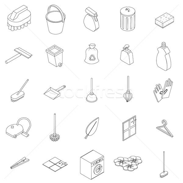 Foto stock: Limpeza · 3D · estilo · isolado · branco