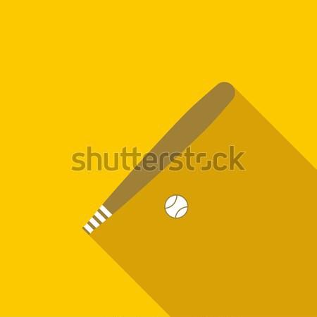 Beysbol sopası top ikon stil sarı spor Stok fotoğraf © ylivdesign
