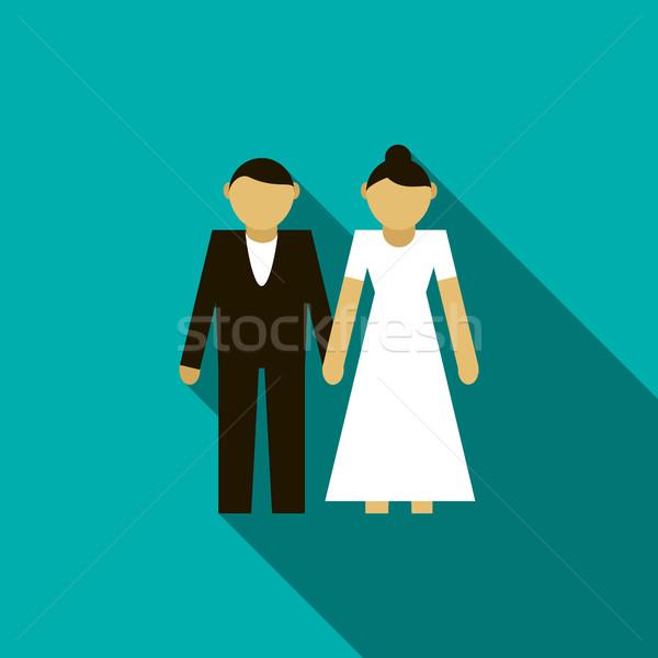 結婚式 カップル アイコン スタイル 青 女性 ストックフォト © ylivdesign