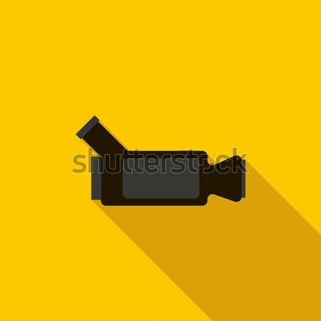 Videókamera ikon stílus hosszú árnyék televízió Stock fotó © ylivdesign