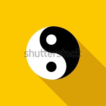 Ikona stylu żółty streszczenie podpisania czarny Zdjęcia stock © ylivdesign