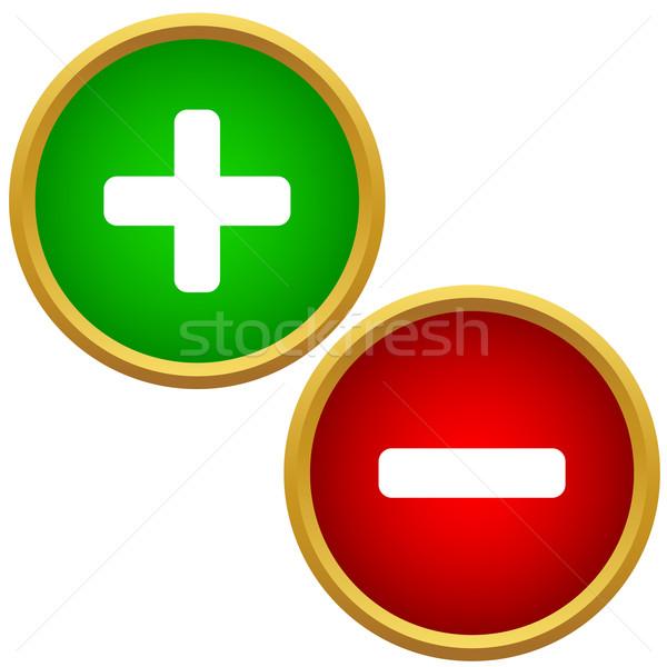 Pozytywny negatywne przyciski minus odizolowany Zdjęcia stock © ylivdesign