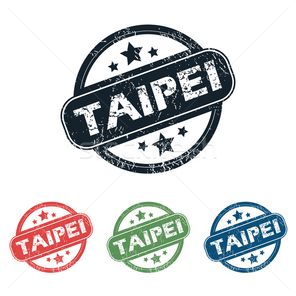 Round Taipei city stamp set Stock photo © ylivdesign
