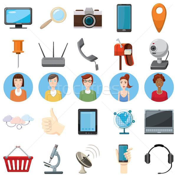 Office equipment icons set, cartoon style Stock photo © ylivdesign