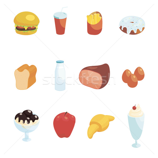 Food Icons Set, cartoon style Stock photo © ylivdesign