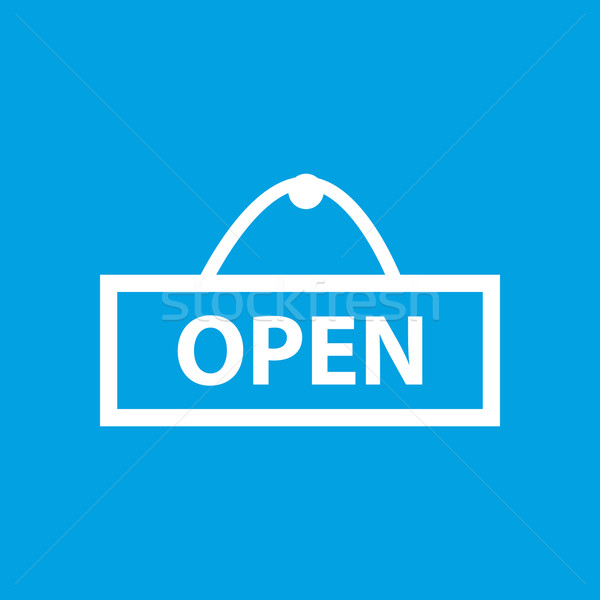Simple open blue icon Stock photo © ylivdesign
