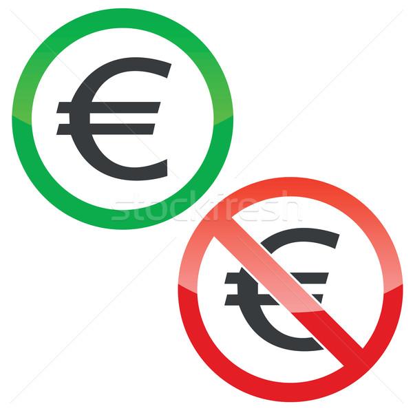 Euros autorisation signes permis interdit Photo stock © ylivdesign