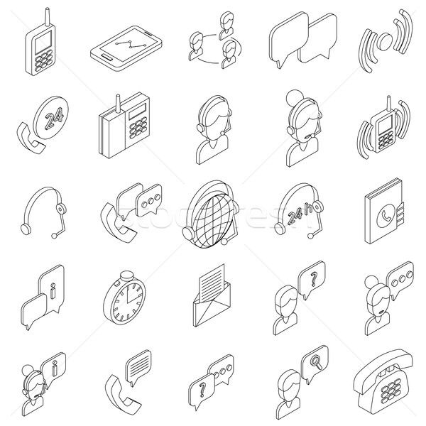 Support service icons set, isometric 3d style Stock photo © ylivdesign
