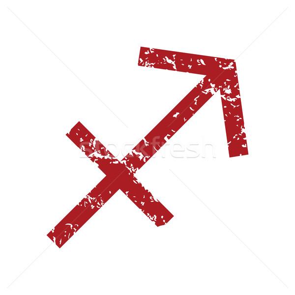 Red grunge Sagittarius logo Stock photo © ylivdesign