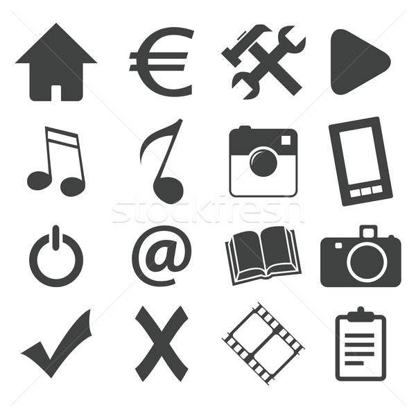 Simple black icon set 1 Stock photo © ylivdesign