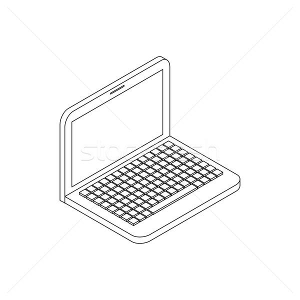 Laptop ikona izometryczny 3D stylu odizolowany Zdjęcia stock © ylivdesign