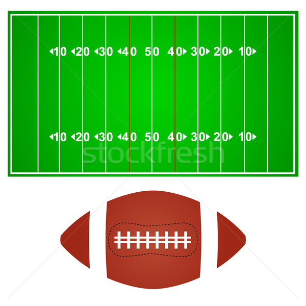 American football field with ball Stock photo © ylivdesign
