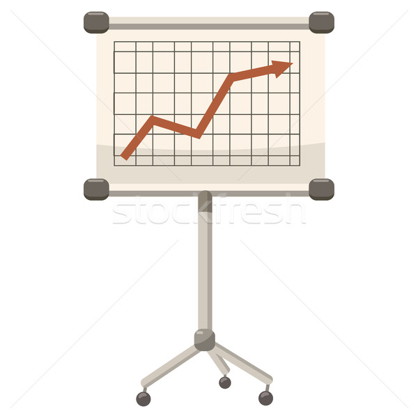 Stock photo: Presentation screen with graph icon, cartoon style