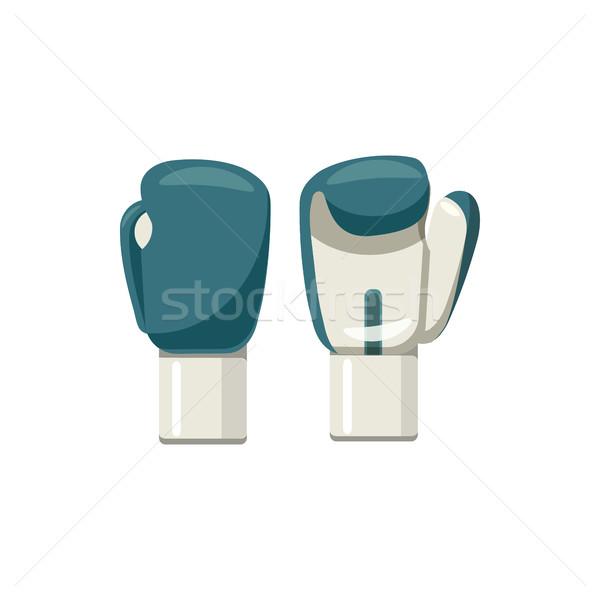 Boxkesztyűk ikon rajz stílus fehér kéz Stock fotó © ylivdesign