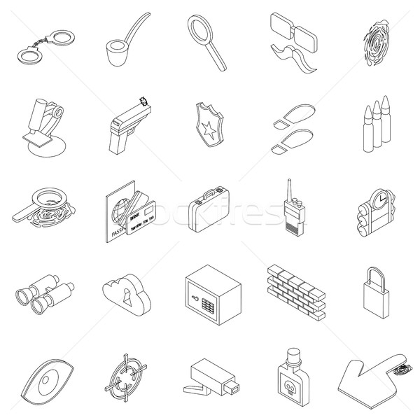 Kém ikon szett izometrikus 3D stílus izolált Stock fotó © ylivdesign