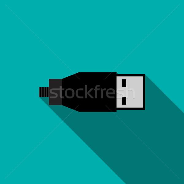 Usb ケーブル アイコン スタイル 青 コンピュータ ストックフォト © ylivdesign