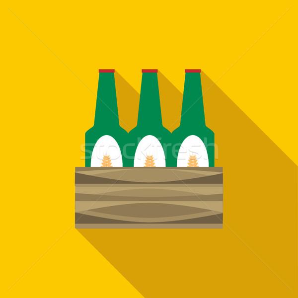 Stockfoto: Ingesteld · bier · flessen · icon · stijl · lang