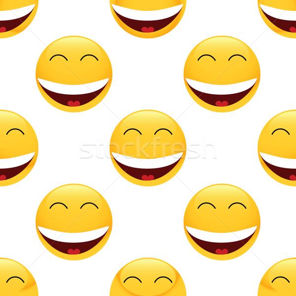Laughing emoticon pattern Stock photo © ylivdesign