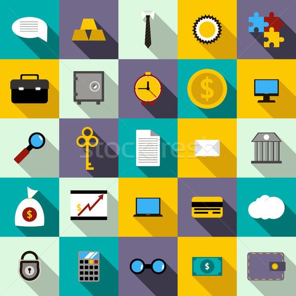 Bank ikon szett stílus számítógép pénz kéz Stock fotó © ylivdesign