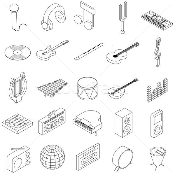 Foto d'archivio: Musica · isometrica · 3D · stile · isolato