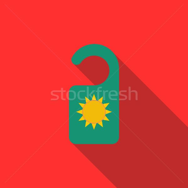 Tag drzwi ikona stylu długo cień Zdjęcia stock © ylivdesign