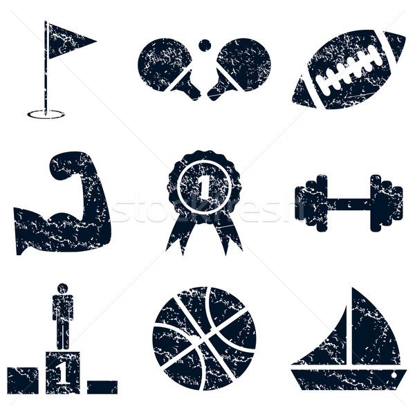 Sport icons set, grunge Stock photo © ylivdesign