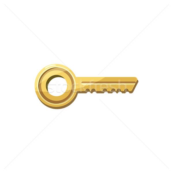 Złoty kluczowych ikona cartoon stylu biały Zdjęcia stock © ylivdesign