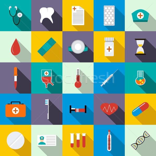Geneeskunde uitrusting stijl teken laboratorium Stockfoto © ylivdesign