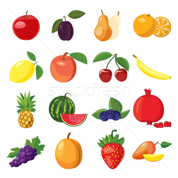 Stock photo: Fruit icons set, cartoon style