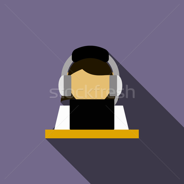 Woman in a headset with laptop icon Stock photo © ylivdesign