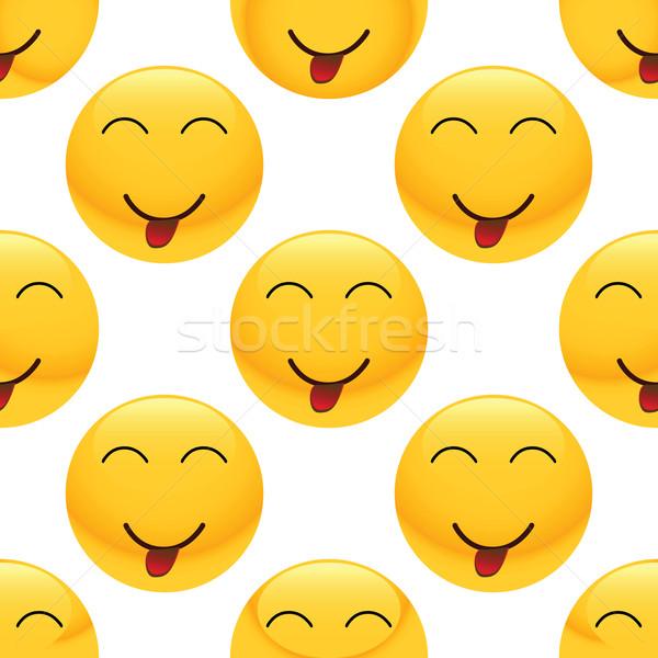 Teasing emoticon pattern Stock photo © ylivdesign