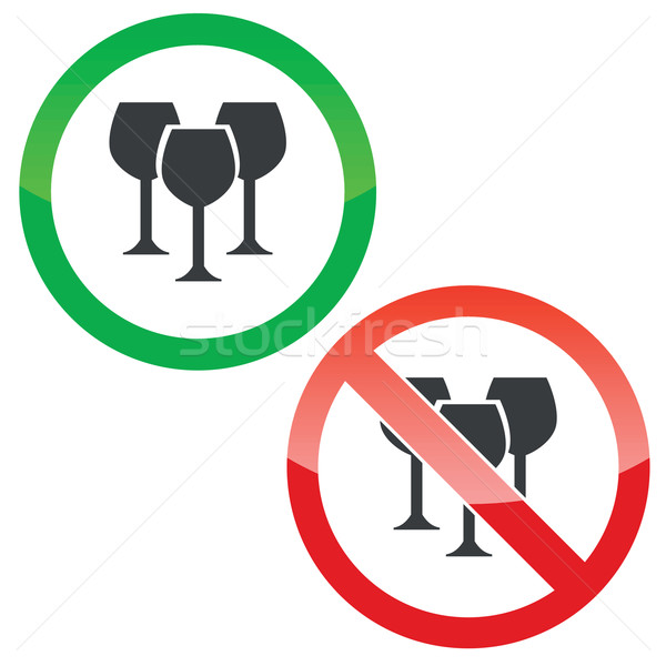 Wine permission signs set Stock photo © ylivdesign