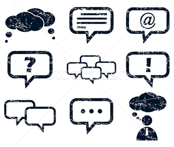 Chat ikon szett grunge feketefehér háló kérdés Stock fotó © ylivdesign
