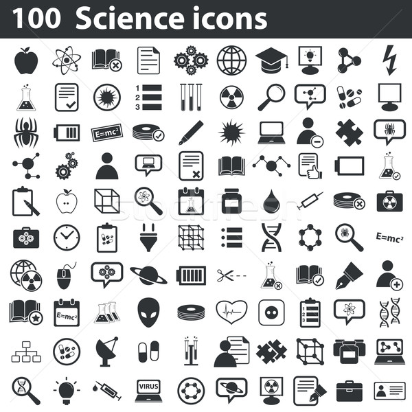 100 science icônes blanc noir ordinateur Photo stock © ylivdesign