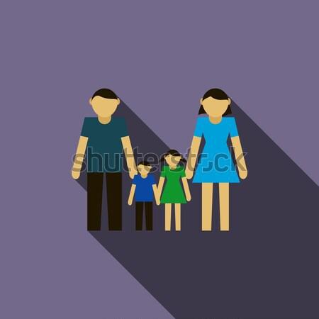 Dedesi ikon stil açık mavi çift anne Stok fotoğraf © ylivdesign