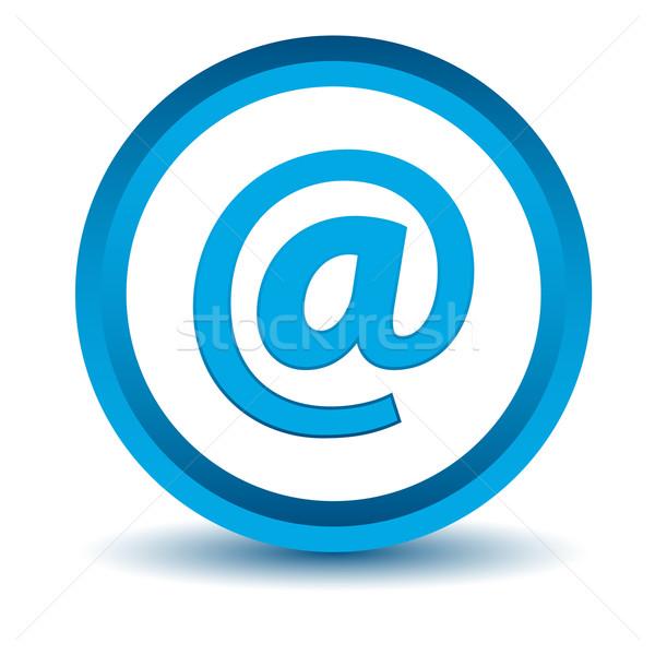 Kék email ikon fehér gomb WWW Stock fotó © ylivdesign