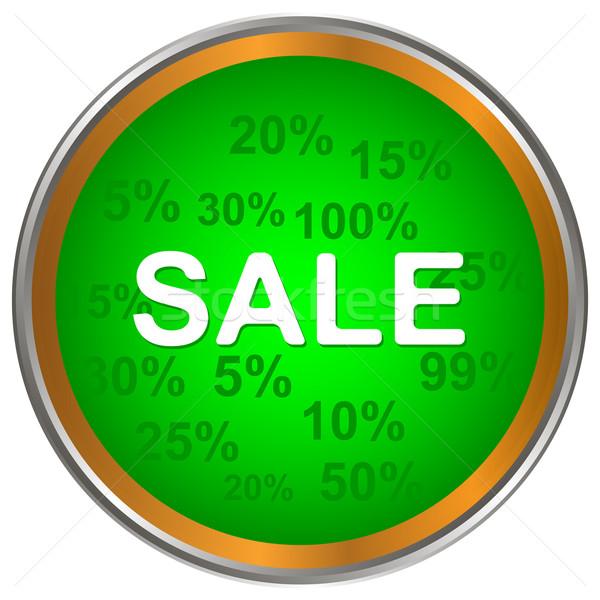 продажи икона зеленый белый бизнеса компьютер Сток-фото © ylivdesign