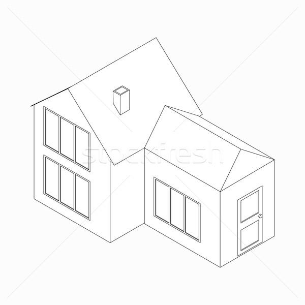 Huis entree icon isometrische 3D stijl Stockfoto © ylivdesign