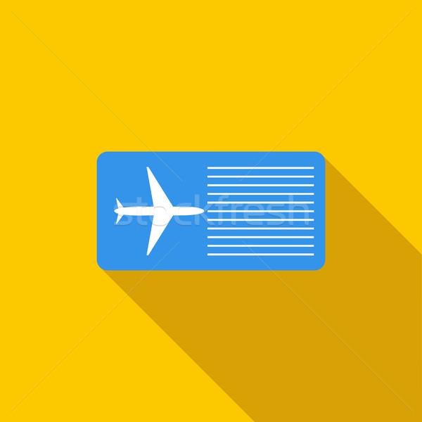 Aerolínea billete icono estilo largo sombra Foto stock © ylivdesign