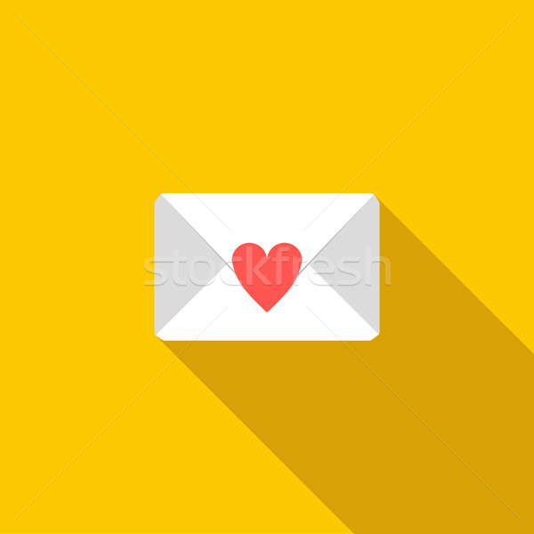 Love letter icon, flat style Stock photo © ylivdesign