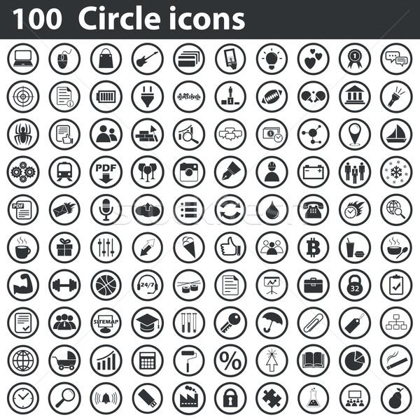 100 kör ikon szett feketefehér szeretet óra Stock fotó © ylivdesign